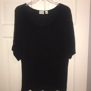 Black knit shirt sleeve sweater with gold studs